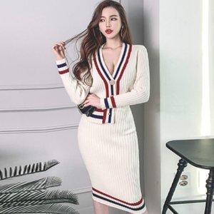 2020 Korea Color Patchwork V-Neck Single Breasted Cardigan Midi Bodycon Skirt Knitted Sweater Suits Casual Dresses