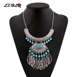 LZHLQ Maxi Vintage Hollow Leaf Tassel Necklace Geometric Metal Trendy Resin Beads Necklace For Women 2020 Fashion Brand Jewelry