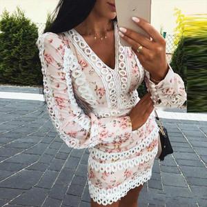 2020 Spring New Arrivals Fashion Long Sleeve Slim V Neck Hollow Out Floral Print Short Mini Bodycon Dress Women MI410