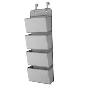 Simple 4 articles ménagers de poche tenture Closet Sac de rangement organiseur porte à jouets en tissu Sac pochette Hanger gris