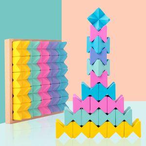 25 créatifs grands blocs de construction, casse-tête en bois pour enfants empilant hautes espaces de jouets travestissement