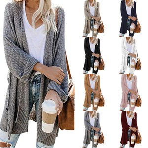 Long Cardigan Sweaters Tops Women 2020 Autumn Knit Loose Casual Solid Color V-neck Lantern Batwing Sleeves Jacket
