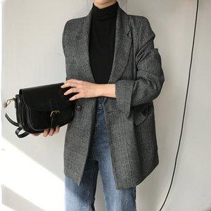 CBAFU Sonbahar Bahar Ceket Kadın Takım Elbise Mont Ekose Dış Giyim Rahat Turn Aşağı Yaka Ofis Giyim İş Pist Ceketler Blazer N785 X1214