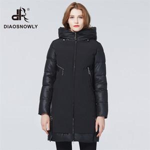 Diaosnowly novo jaqueta grossa de inverno para mulheres casacos elegantes parka longa roupa quente mulher 201214