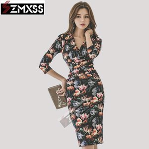 SZMXSS versión coreana otoño / invierno nuevo vestido de mujer con cuello en v placa de pliegle delgado de lápiz de lápiz de la oficina de la señora Empire Ol Vestidos T200827