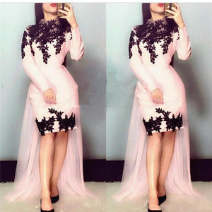 Pink Long Sleeves Plus Size Evening Dresses with Detachable train 2020 Black Vintage Lace Girls Formal Celebrity Prom Party Gowns