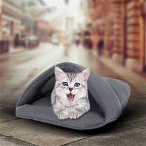 Soft Sofa Warm Cat Bed Cave House Slippers Beds Dog Kitten Mat Nest Kennel Sleeping Bag Mats Cushion for Cats Dogs Supplies 201218