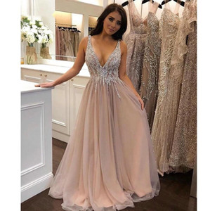 2021 Long Prom Dresses Sexy Deep V Neck Beading Tops Floor Length Evening Party Gown Girls Birthday Party Dress