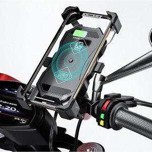 Bike Bicycle Motorcycle Phone Holder Stand For Mobile Phone Handlebar Mount Bracket Wireless charging+USB charging for