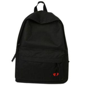 Designer-New High School Student Bag Female Canvas Backpack Girl Travel Large Capacity Backpack Black