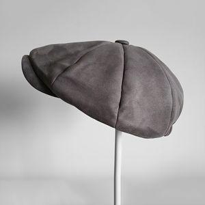 Top Grade Suede Newsboy Caps Mens Grey Oversized head circumference Flat Caps Women British Gatsby Cap Autumn Winter Hats LJ201117