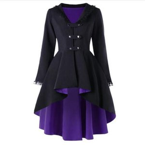 2020 New Trench Winter Coat Women Back Lace Up High Low Womens Outerwear Coats Fashion V-Neck Long Ladies Tops Overcoat