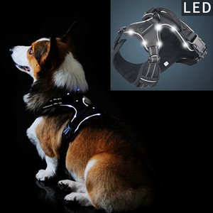 Pet Product LED Harness Tailup Nylon Flashing Light Safety Dog Harness Leash Rope Belt LED Dog Collar Vest Pet Supplies Q1119