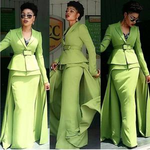 Sage Green African Evening Formal Dresses with Overskirt 2021 Long Sleeve Peplum Nigerian Shirt Top Prom Gowns vestidos