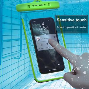 Keysion IPX8 Saco à prova d'água para Samsung Xiaomi Redmi telefone móvel natação caso luminoso bolsa subaquática para huawei iphone oppo