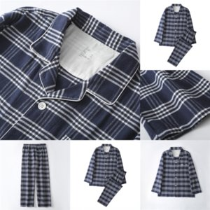 521 w Man MUJI-style Silk And Pyjamas plaid pajamas Long Sleeve Flower Printed Sleepwear Pijama Plaid Women Satin Couple Suit Pajamas Set