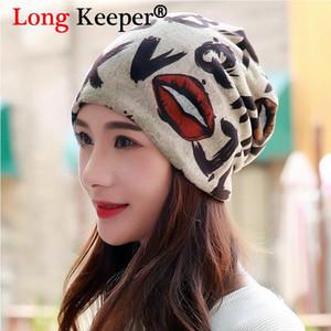 Beanie / Skull Caps Largo Guardián Moda Gorros de labios Gorros para mujer Invierno Algodón de algodón de algodón Damitas Hip Hop Hat Bufanda Máscara Bonnet