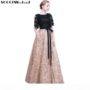 Socci Weekend Elegant Mother Of The Bride Dresses Black Lace Flowers Women Formal Party Dress Evening Gown Robe De Soiree SH190708