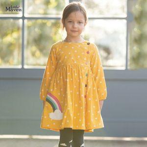 Maven Corduroy 겨울 소녀 무지개 단추와 작은 유아 공주 드레스 Vestido 어린이 드레스 201030