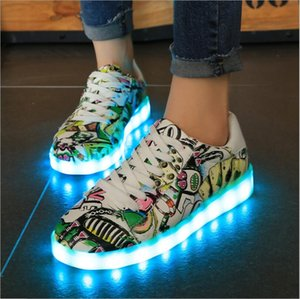 Fashion fluorescent shoes luminous shoes lovers led running USB charging lights