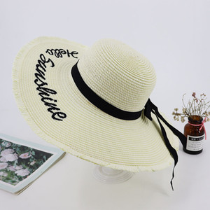 The New Fashion Popular Straw Hat Ms Sun Hat The beach Sun Hats Letters Han Edition Temperament Hats Ribbon Bow Cross Border Style Wholesale