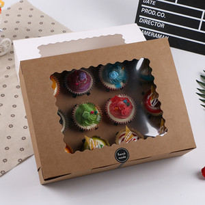 10 teile / satz Muffinkuchen Packung Box mit Fenster Weiß / Kraft Geburtstag Festival Kuchenbox Party Muffin Verpackungskoffer DHA2516