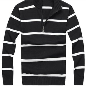 High Quality Warm Small Horse Half Zipper Cotton Stand-Up Collar Sweater Jersey Jumper Hombre Pull Homme Men Knitted Sweaters