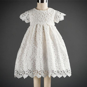 Flower Infant Baby Girl Dress White Lace Tutu Baptism Dresses for Girls Year Birthday Party Wedding Baby Clothes 0-24 Month LJ201223
