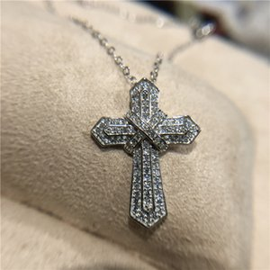Cross Necklace Hip Hop Jewelry 925 Sterling Silver Pave White CZ Diamond Gemstones Cross Pendant Lucky Women Necklaces for Party