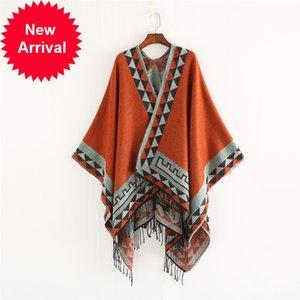 Mingjiebihuo Nuevo estilo europeo y americano de moda color geométrico imitación cómoda temperamento cálido poncho chal bufanda