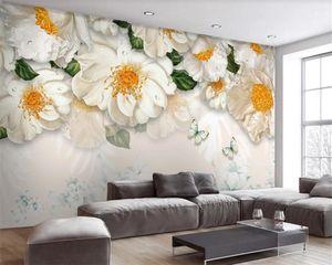 Photo Wallpaper 3d Flower Stereo Oil Painting Modern Fresh Flower Sofa Background Wall Romantic Floral 3d Wallpaper