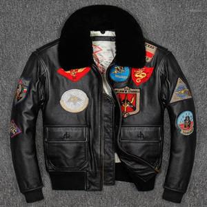 Cuoio da uomo Faux G1 Uomo Giacca Pistola Top Giacca Pilota Plus Size Collare in lana Colletto in pelle bovina American Army Coat1