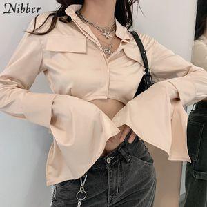 Nibber Autumn Korean Style High Quality Basic Crop Top Slim T-shirt For Women High Streetr Casual wear Harajuku Top Tees Female A1112