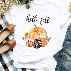Women Lady Coffee Cookie Pumpkin Floral Thanksgiving Fall Halloween Tshirt Shirt Clothes Top Graphic Female T Tee Womens T shirt
