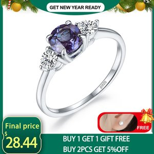 Kuololit Lab Alexandrite Gemstone Ring for Women Solid 925 Sterling Silver Jewelry Round 6.0 Natural Stone Engagement Promise J1208