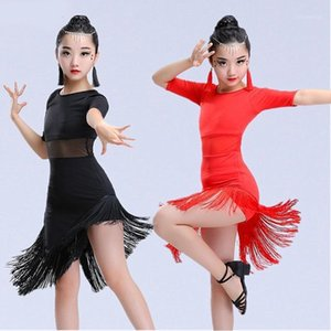 Etapa desgaste tassel vestido de baile latino para niña margen marrón salsa de baile rumba falda niños negro rojo verde danceda traje1
