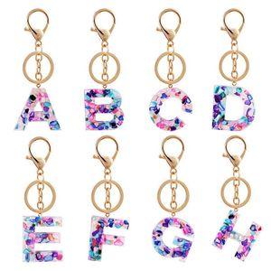 2021 Tendance Femme Touche Touche Alliage Big A-Z 26 Lettres Titulaire de la clé de clé lumineuse Colories d'acryliques de couleur Charms Sac Pendentif Accessoires
