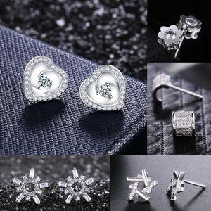 Huitan Korea Style Women Stud Earrings Sets Silver Color With Dazzling Zircon Stone Elegant Girl Earrings Jewelry Gift For Girls