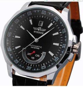 Venda quente Três agulha semi mecânica relógio de esportes empresarial lazer couro homens relógio de relógio