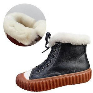 New Lace-up Full Top Cowhide Full Wool Boots Flat Thick bottom Non-Slip Casual Sneakers Women Ankle Boots Snow Shoes Warm Winter Women Boots