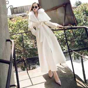 2019 Inverno Yosimi Maxi Elegante Cappotto donne Outwear lana completi a maniche lunghe con colletto in pelliccia di agnello d'Avorio 9C0I