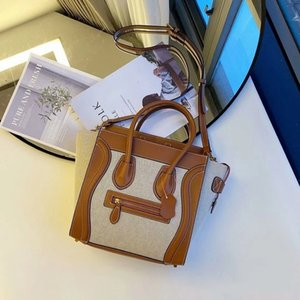 2020 New Lychee Pattern Smiling Face Bag Genuine Leather Face-Pattern Handbag Simple Fashion Shoulder Crossbody Large Capacity Handbag for W