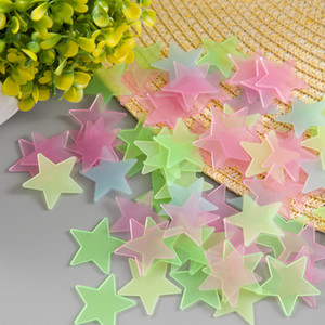 100pcs lot Glow Wall Stickers Decal Baby Kids Bedroom Home Decor Color Stars Luminous Fluorescent 4 Colors DDF2650