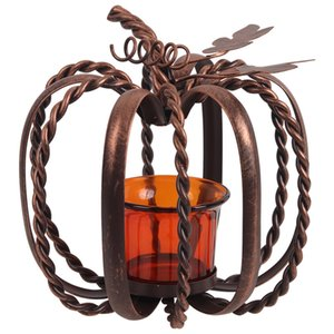 Rustic Metal Pumpkin Shaped Candle Holder Wrought Iron Wire Frame Tea Light Holder Halloween Thanksgiving Fall Decoration