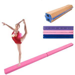 New 7 Ft Half Folding Balance Beam Skill Performance Gymnastics Home Gym Training Fitness Pink Purple