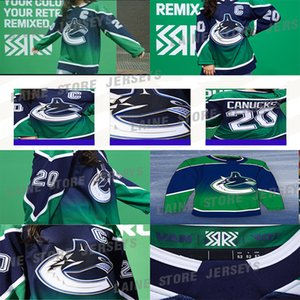 Vancouver Canucks 2020-21 Reverse Retro Jersey 43 Quinn Hughes 40 Elias Petterssson 53 Bo Horvat 88 Nate Schmidt Hockey Jerseys