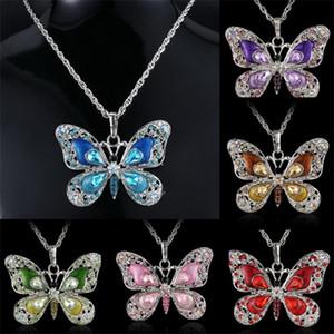 Borboleta colares jóias retrô colorido cristal cristal verde pingentes esvaziando mulheres liga liga moda 4cya m2