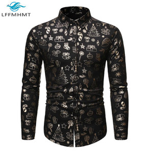 Men Autumn Fashion Golden Plating Long Sleeve Button Up Lapel Shirt Chinese Style Christmas Slim Fit Bottoming Top Male Clothing