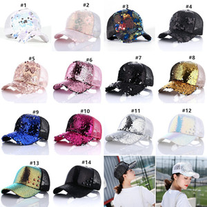 Glitter Ponytail Baseball Caps Washed Sequins Messy Buns Hats Trucker Pony Cap Visor Cap Hat Outdoor Snapbacks Caps Party Hats GH1306