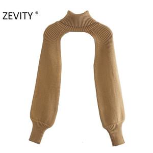 Zevity New Women Turtleneck Collar Manga Longa Sweater Femme Chic Design Casual Pullovers High Street Ladies Tops S434